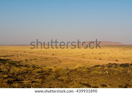 Namibian Landscape with table mountain, seen near the fish river in namibian desert land, namibia, southern africa. - stock photo