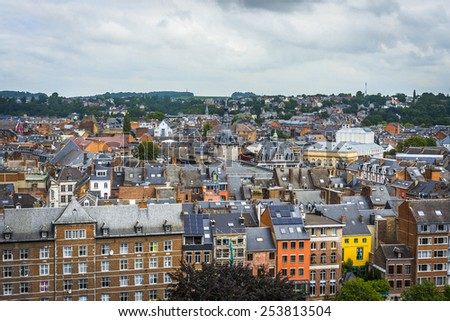 Namur skyline, in the Wallonia Region, southern Belgium, as seen from the Citadel. - stock photo