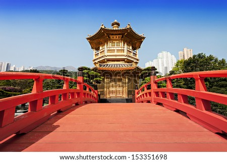 Nan Lian Garden, Chi Lin Nunnery, Hong Kong - stock photo