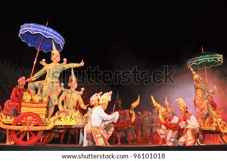"NAN, THAILAND - FEBRUARY 19: Unidentified actors performs Thailand Dancing art called ""Khon"", an high-class of historic dance, on February 19, 2012 in Nan, Thailand - stock photo"