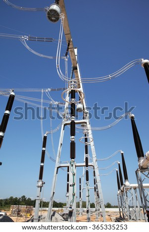 NAN - THAILAND : Gas insulated switchgear and its outdoor electrical equipment under-construction.