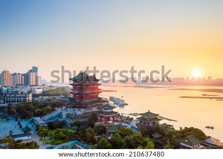nanchang tengwang pavilion at dusk ,one of the four famous towers in south China.  - stock photo