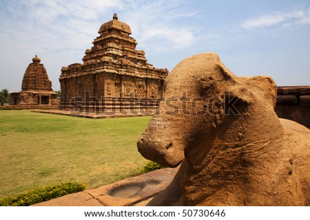 Nandi statue in front to the pattadakal temple complex.
