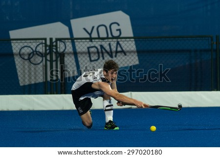 NANJING, CHINA-AUGUST 21: Aiden Sarikaya of New Zealand Hockey Team during Day 5 match against Pakistan at 2014 Youth Olympic Games on August 21, 2014 in Nanjing, China.