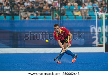 NANJING, CHINA-AUGUST 20: Manuel Bordas I Fabregas of Spain Hockey Team in action during Day 4 match of 2014 Youth Olympic Games on August 20, 2014 in Nanjing, China.