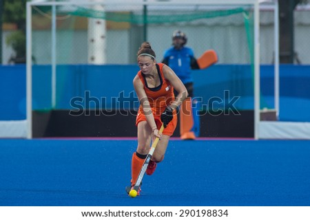 NANJING, CHINA-AUGUST 21: Unidentified player of Netherlands Hockey Team in action on Day 5 match of 2014 Youth Olympic Games on August 21, 2014 in Nanjing, China.