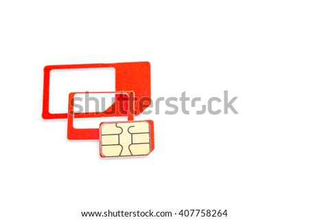 nano sim card and sim card adapter to change size to micro sim card and normal sim card size on white background - stock photo