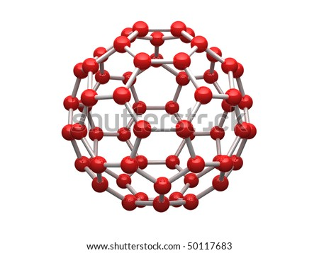 Nano sphere from carbon atoms isolated on white background.
