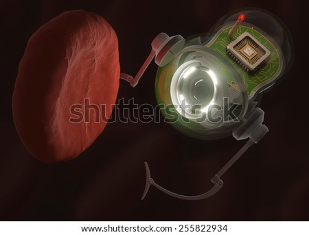 Nanobot looking at a hemoglobin with possible virus infection.  - stock photo