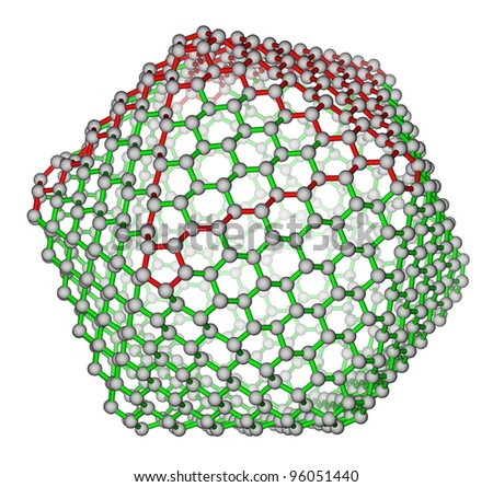 Nanocluster fullerene C720 molecular structure on a white background - stock photo