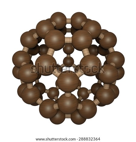 Nanoparticle, C60 molecule, carbon nanoparticle, buckyball, chemical structure, made from wood, wood texture - stock photo