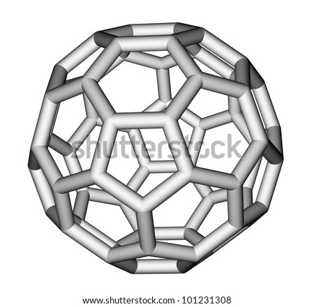 Nanostructure fullerene C60 sticks molecular model - stock photo