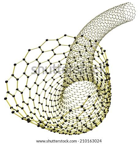 Nanotube, 3d illustration - stock photo