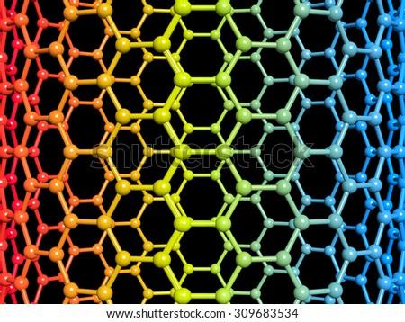 Nanotube 3d illustration on black background - stock photo