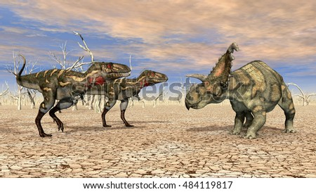 Nanotyrannus and Albertaceratops Computer generated 3D illustration