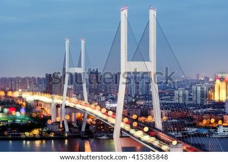 Nanpu Bridge and Overpass, Shanghai - stock photo