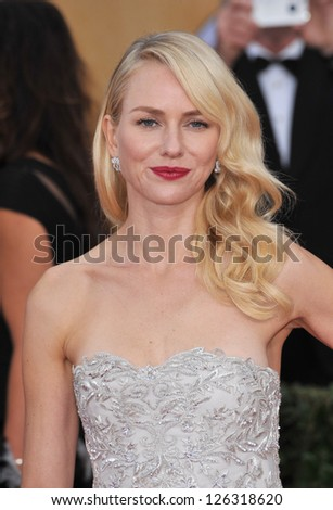 Naomi Watts at the 19th Annual Screen Actors Guild Awards at the Shrine Auditorium, Los Angeles. January 27, 2013  Los Angeles, CA Picture: Paul Smith - stock photo