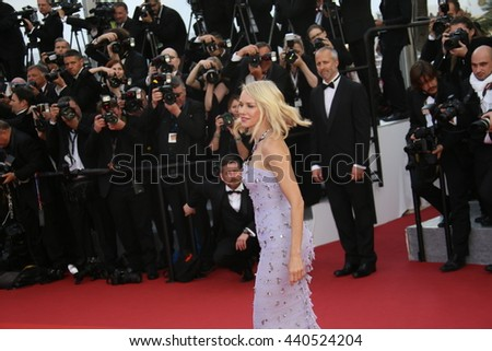 Naomi  Watts  attends the 'Cafe Society' premiere and the Opening Night Gala during the 69th Cannes Film Festival at the Palais des Festivals on May 11, 2016 in Cannes, France. - stock photo