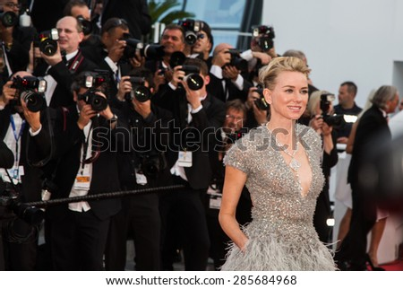 Naomi Watts attends the opening ceremony and premiere of La Tete Haute ( Standing Tall ) during the 68th annual Cannes Film Festival on May 13, 2015 in Cannes, France. - stock photo
