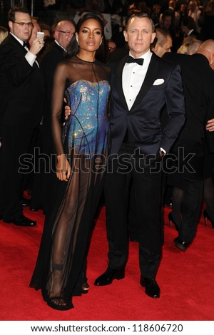 Naomie Harris and Daniel Craig arriving for the Royal World Premiere of 'Skyfall' at Royal Albert Hall, London. 23/10/2012 Picture by: Steve Vas - stock photo