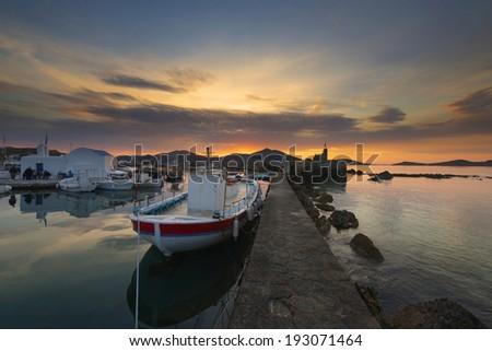 Naousa port at sunset , Paros island - stock photo