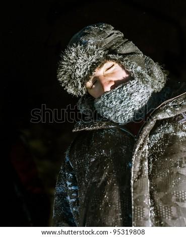 Nap in snow - stock photo