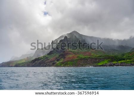 Napali Coast in Kauai, Hawaii Islands - stock photo