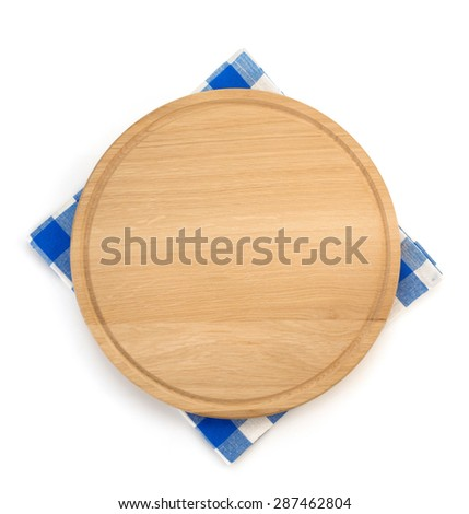 napkin and cutting board on white background - stock photo