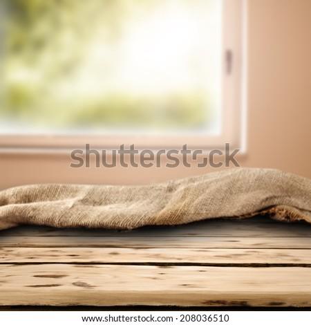 napkin desk and window  - stock photo