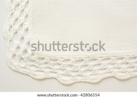 Napkin with hand crocheted lace - stock photo