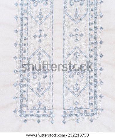 napking embroidered cross-stitch pattern, ethnic ornament  - stock photo