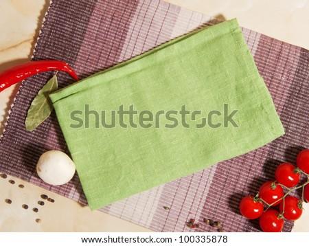 napkins on the kitchen table - stock photo