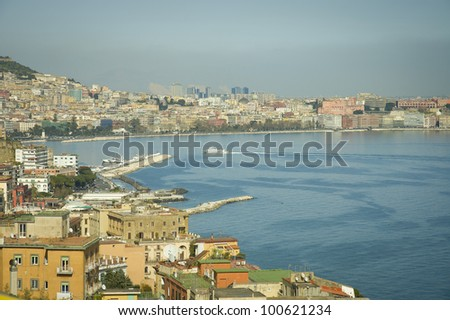 Naples  bay scenic view and harbor,  Italy - stock photo