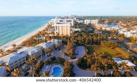 Naples coastline, Florida aerial view. - stock photo