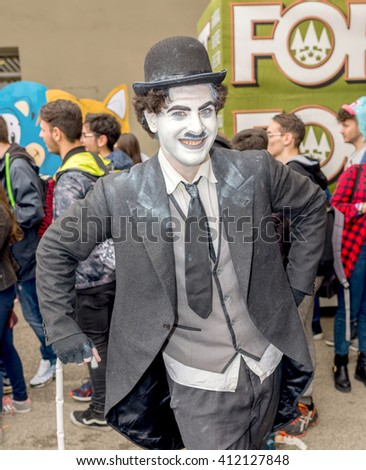NAPLES, ITALY- APRIL 22: cosplay Charlie Chaplin pose during the 18th edition of the International Cartoon Comicon on  april 22, 2016 in Naples - stock photo