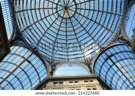 NAPLES, ITALY  AUGUST 17, 2014: Interior architectural details of Umberto I gallery in Naples, Italy.  It is a public shopping gallery built in 1887-1891 - stock photo