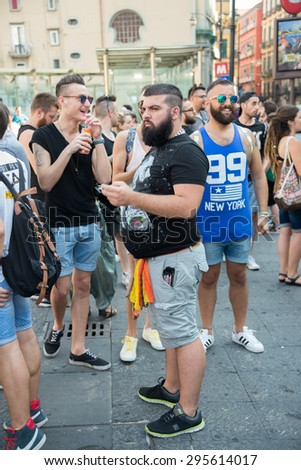 NAPLES, ITALY-JULY 11:Some participants in Gay Pride every year brings together thousands of gay people and not to claim the rights to sexual freedom and against homophobia on july 11, 2015 in Naples