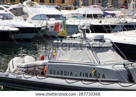 Naples, Italy - June 16 2015. Harbor of Mergellina , Naples . Guardia Di Finanza controls maritime traffic