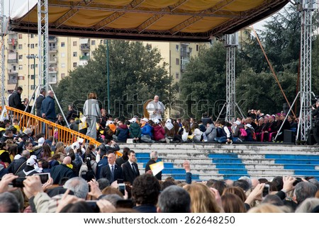 NAPLES,ITALY- MARCH 21: Pope Francis to visit the streets of Scampia district of Naples between crowd of faithful on march 21, 2015 in Naples - Italy - stock photo