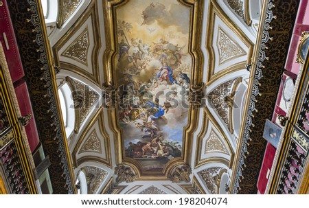 NAPLES, ITALY - MAY 16, 2014 : Interiors and details of San Domenico Maggiore church, May 16, 2014,  in  Naples, Italy.