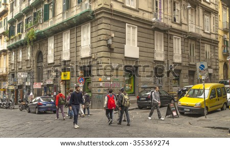 NAPLES, ITALY - NOVEMBER 13, 2015. Street view in the historical center of Naples, Italy.