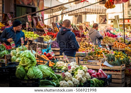 NAPLES, ITALY, -Oct. 29. 2016 :Fruits and vegetables stands at the market in the historic centre of Naples.