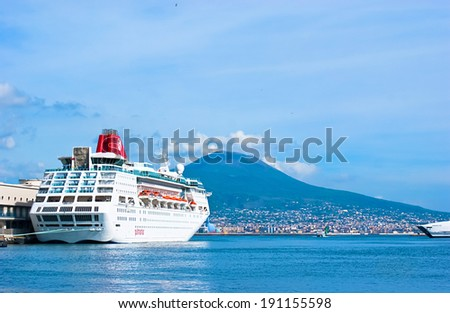 NAPLES, ITALY - OCTOBER 3, 2012: The ferry waits for passengers in the city port, on October 3 in Naples.