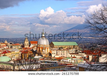 Naples old town and Mount Vesuvius, Italy - stock photo