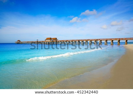 Naples Pier and beach in florida USA sunny day - stock photo