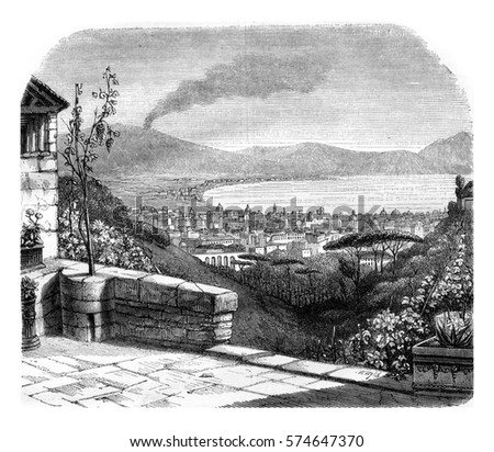 Naples, vintage engraved illustration. Magasin Pittoresque 1846.
