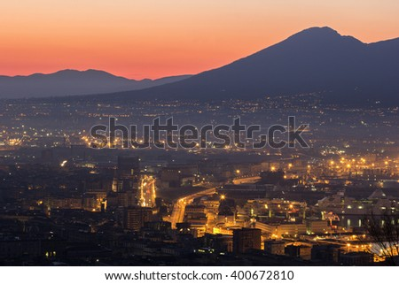 Naples with Mount Vesuvius in the background in Italy