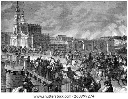 Napoleon at Dresden, vintage engraved illustration. History of France 1885. - stock photo