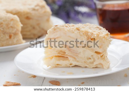 Napoleon cake in vintage provence style background with tea and lavender