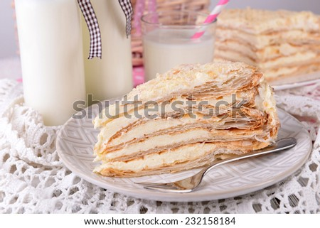 Napoleon cake on plate on table close-up - stock photo